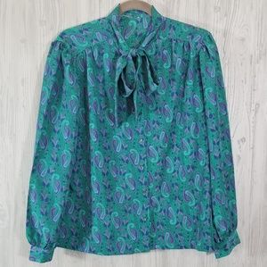 Vintage Green Paisley Tie Neck Blouse Size Small